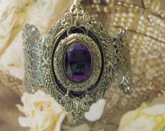 Vintage  Bracelet BANGLE Wide Amethyst Silvertone