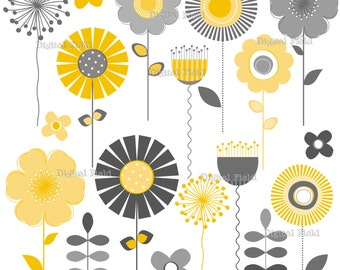 Yellow and Gray Mod Flower Clip Art Set - printable digital clipart - instant download