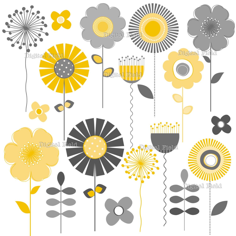 yellow and gray mod flower clip art set printable digital