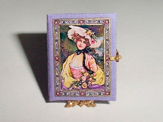 Lavender Purple VICTORIAN Style Scrapbook  - A One Inch Scale Dollhouse Miniature