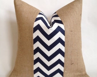 Navy and White Chevron Fabric and Burlap Pillow Cover