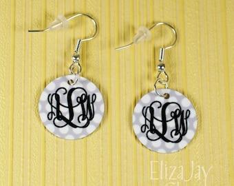 enameled polka dot monogram earrings