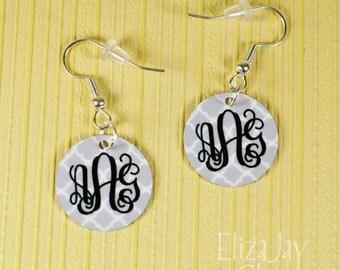 enameled quatrefoil monogram earrings