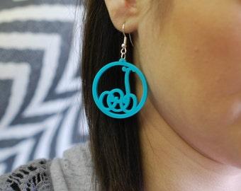 Lace circle initial acrylic earrings