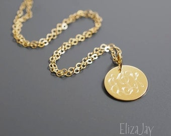 "very small 1/2"" engraved monogram necklace 14 kt gold filled"