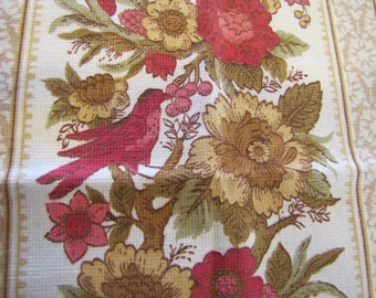 1950s Bird and Flower Fabric, Country Yellow Floral Fabric, Big Piece of Fabric, Floral Fabric, Pink, Gold