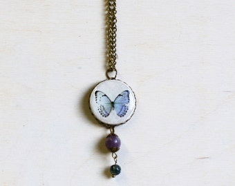 Butterfly necklace polymer clay necklace with purple and blue beads