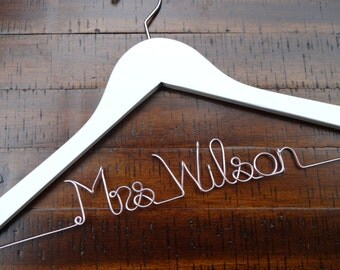Wedding Dress Hanger, Bridesmaid Hangers, Bride Hanger, Last Name Hanger, Mrs Hanger, Personalized Wedding Hanger, Bridesmaid Bride Gift