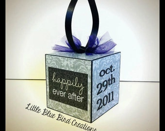 Personalized Wooden block ornament for wedding, birth or special event - home decor - christmas ornament