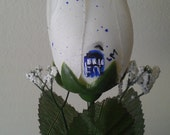 White Rose Speckled Blue with Blue Tardis
