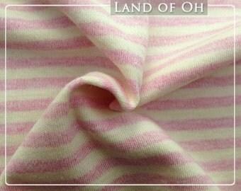 Organic Cotton Interlock Knit Pink Stripes per Yard - 302
