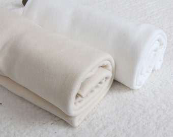 Organic Cotton Rib Knit - Natural or White Ivory - Great for Babies - By the Yard 38014