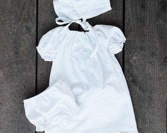 White lace Baptismal Gown 3 piece set, bloomers, dress and bonnet, christening, dedication, Newborn, 0-3 months, 3-6, 6-12 , 12-18, 2t