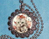 Vintage Cat with Kitten and Roses Art Pendant, Mothers Day Resin Pendant, Photo Pendant Charm