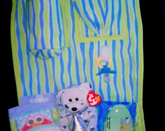 Green Trimmed Blue and Green Stripe Baby Car Organizer
