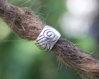 10 Tibetan Silver Dreadlock Beads 6mm Hole (1/4 Inch)