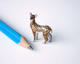 Miniature Deer polymer clay sculpture - Made to order