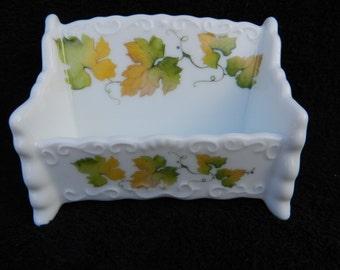 Business Card Holder: Hand decorated Porcelain