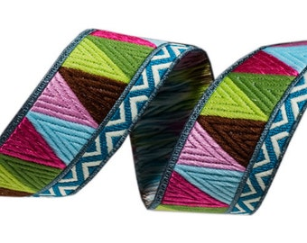 "AMY BUTLER 7/8"" ribbon--Alchemy--Brown/Pink/Green Mosaic--price is per yard"