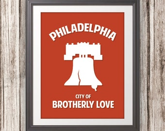 Philadelphia, Liberty Bell, City Of Brotherly Love - Philadelphia Print, Philadelphia Art, Custom Color - 11x14 Print