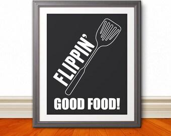 Flippin Good Food: Kitchen Print, Kitchen Art, Kitchen Poster, Custom Color - 8x10 Print