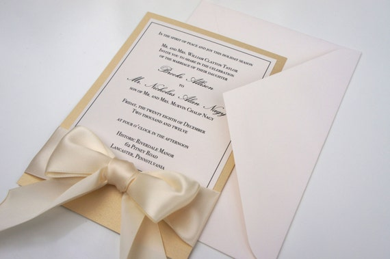 Traditional Elegant Wedding Invitations: Elegant Traditional Gold Ivory & Champagne Classic Ribbon And