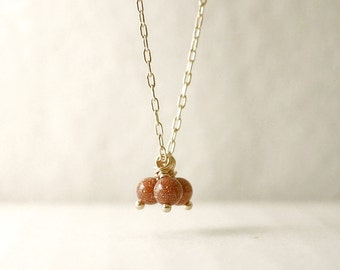 Tiny gold stone necklace - gold filled - elegant delicate jewelry