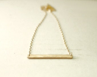Gold bar necklace - bronze dash on gold filled - modern delicate gifts