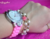 Pink Double Wrap Pearl Bracelet With Crystals And Pink Flower - Bracelet and Watch Set Handmade Double Wrap Bracelet