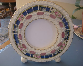 Pretty Vintage China Mosaic Frame- Blue Vintage China with Pink Roses & Dainty Blue flowers - Broken China Mosaics