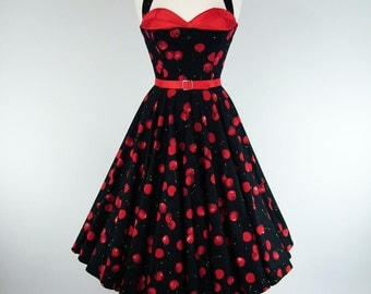Made To Measure Black And Red Cherry Petal Bust Full Circle Dress - Detachable Straps & Belt