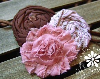 KIDS headband - Pink & Brown - GIRLS headband - Boutique Style Elastic Headband - Photo prop