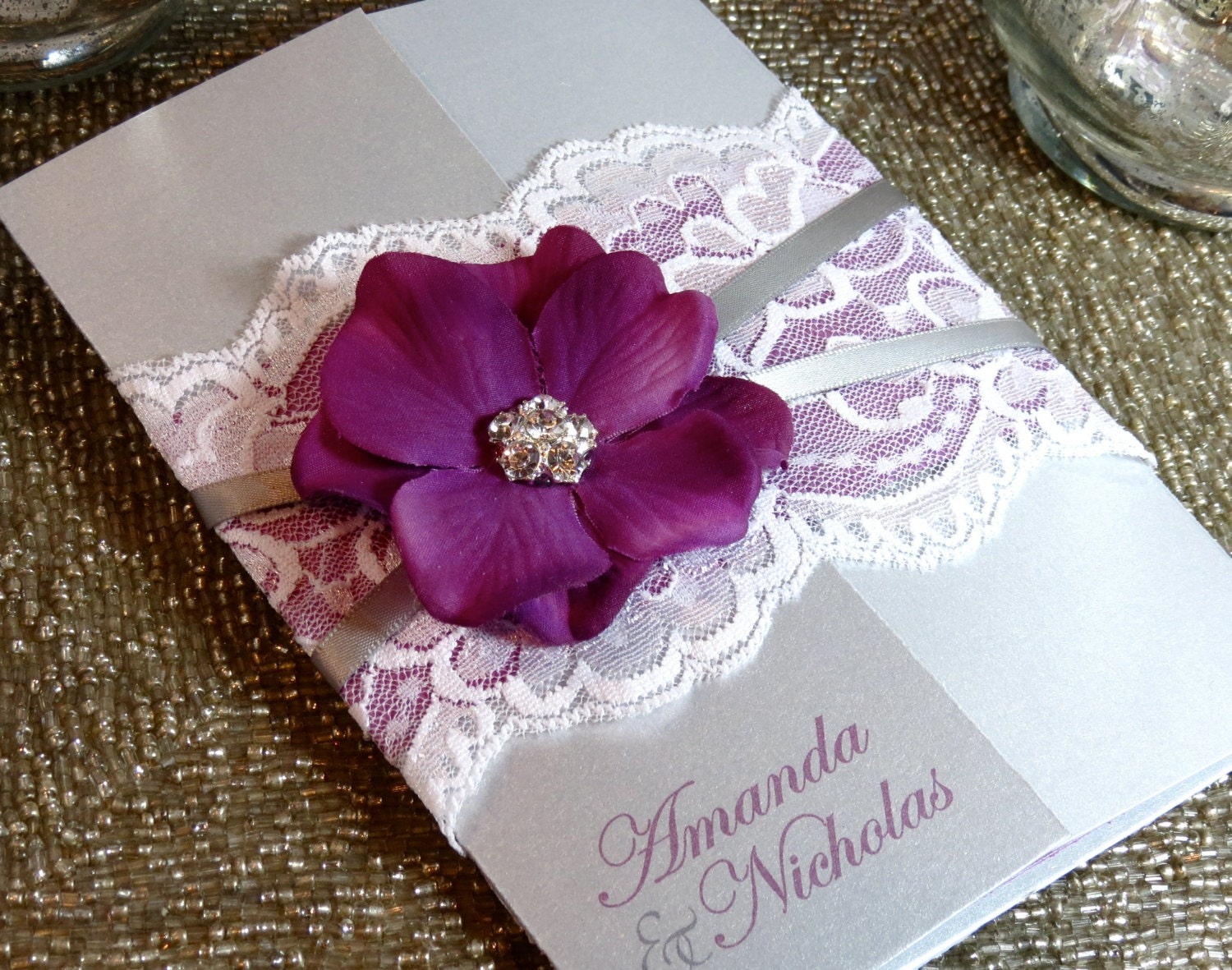 Lace Wedding Invitation: SUMMER: Vintage Lace Wedding Invitation Purple And Silver