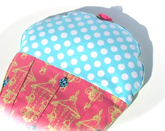Aqua And Pink Heating Pad, Natural Aromatherapy, Get Well, Handmade Summer Time Cramp Cake