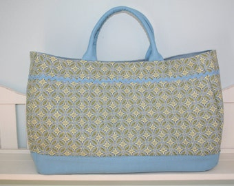 Large Blue, Yellow and Green Geometric Patterned Cotton Beach Tote