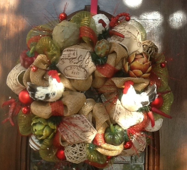 Rooster Kitchen Wreath