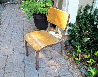 Vintage School Chair Childs Chair Wood School Chair Small Industrial Desk Chair Epsteam