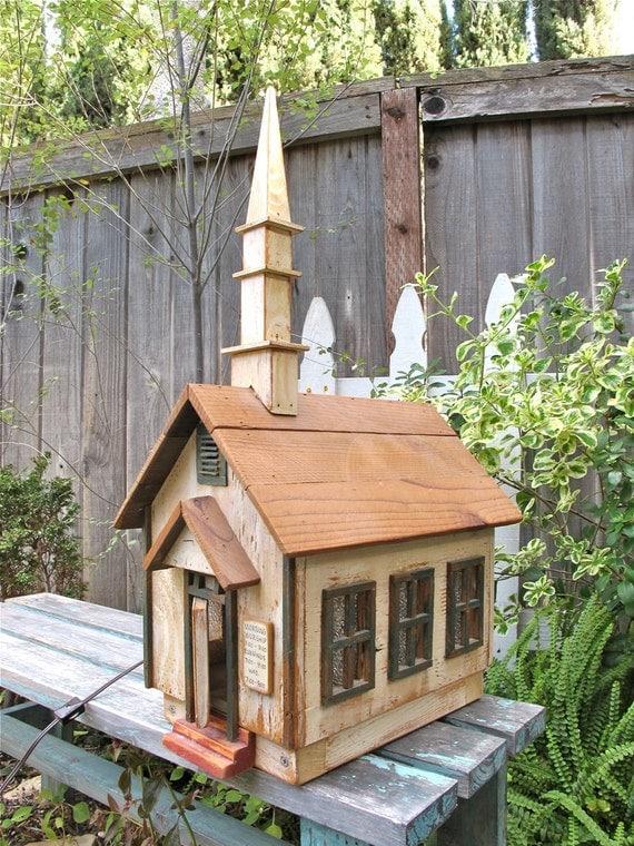 Vintage Wood Church House Ooak Dollhouse Birdhouse