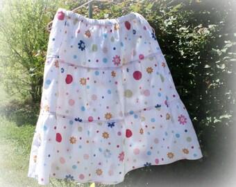 Girls white twirly Skirt - Handmade modest skirt - Girl's summer skirt - Flowers and polka dot skirt- Ruffle skirt - girls clothes - size 8