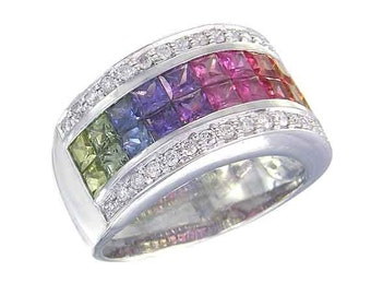 Multicolor Rainbow Sapphire & Diamond Invisible Set Band Ring 18K White Gold (4.3ct tw): sku 1532-18k-wg