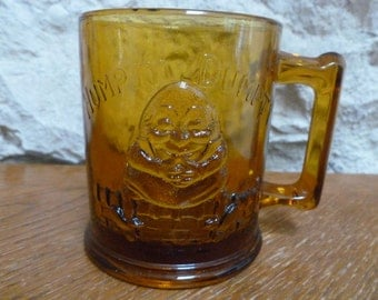 Vintage Amber Glass mug Humpty Dumpty Tom Tom Pipers Son Indiana Glass