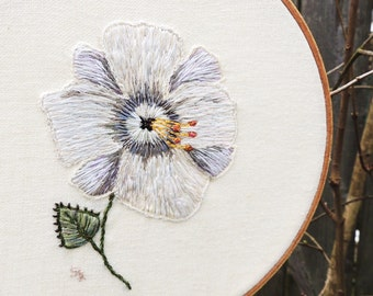Embroidery design flower Silvery white flower minimalist hoop hand embroidered art