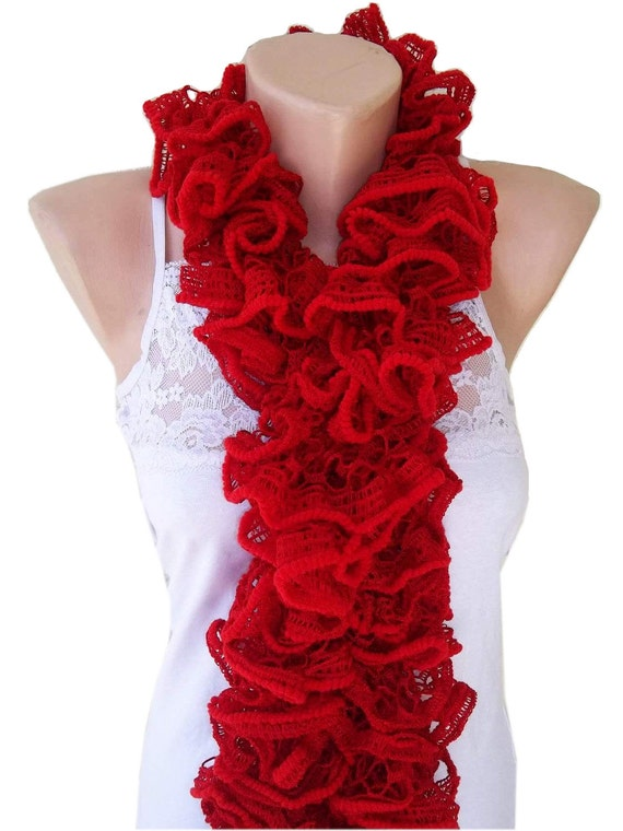 Womens scarf, knitting ruffle scarf, handmade scarf, red scarf, gift for her, gift for mom, valentines day, mothers day gift,