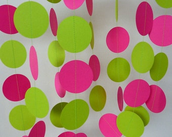 Hot Pink & Chartreuse Paper Garland, Pink and Green Birthday Decoration, Bright Girl's Party Decor, 10 ft.