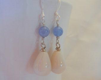 White Agate Earrings, Teardrop Agate Earrings, Blue and White Silver earrings