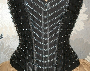 Black Denim,Faux Leather straps and Chains Corset
