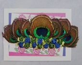 Elegant Peacock Feathered Infant Headband with Handmade Satin Roses