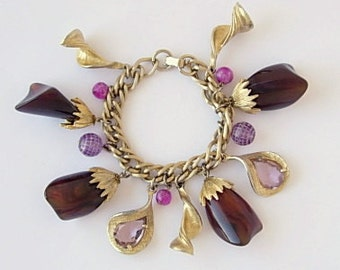 Vintage Chunky Charm Bracelet Plum Lavender Purple Heavy Weight Gold Tone Curb Chain Link Tumbled Stone Lucite or Glass Beads Statement