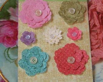 Paper Flowers Assortment, Scrapbook Flowers, Floral Embellishments, Paper Craft Flowers, Flower Set, Decorative Flowers, Pink Flowers, Paper