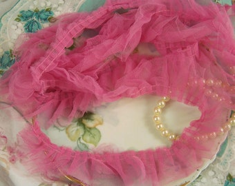 Ruffled Tulle Trim, Tulle, Pink Tulle, Shabby Style, Cottage Chic, Tulle Ribbon, Tulle Trims, Romantic Tulle, Sheer Ribbons, Ruffled Trims